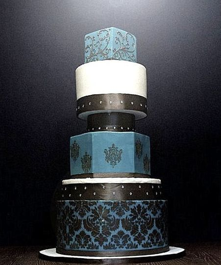 Custom Design Wedding Cake with Damask Stenciling and Scroll work.