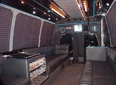 Our Land Yacht interior - 15 passenger Limo bus