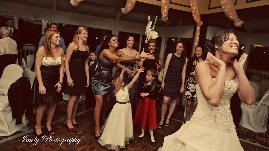 Throwing of bridal bouquet