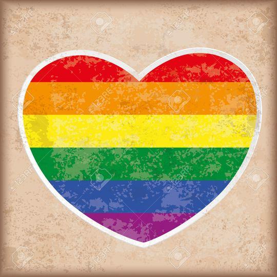 rainbow heart on the vintage background