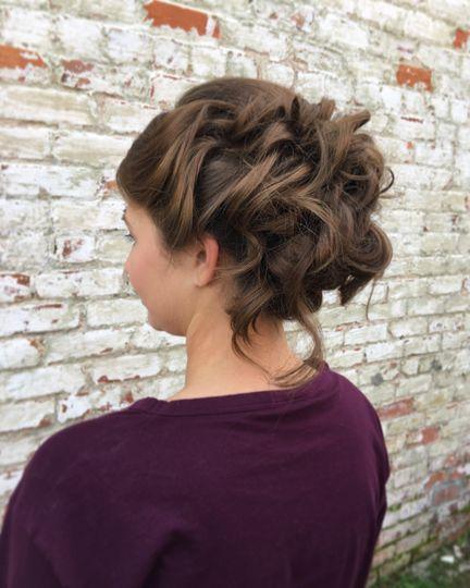 Wavy hair in an updo