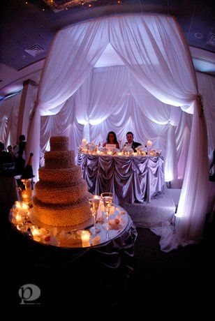 Couple with their 5 layered wedding cake
