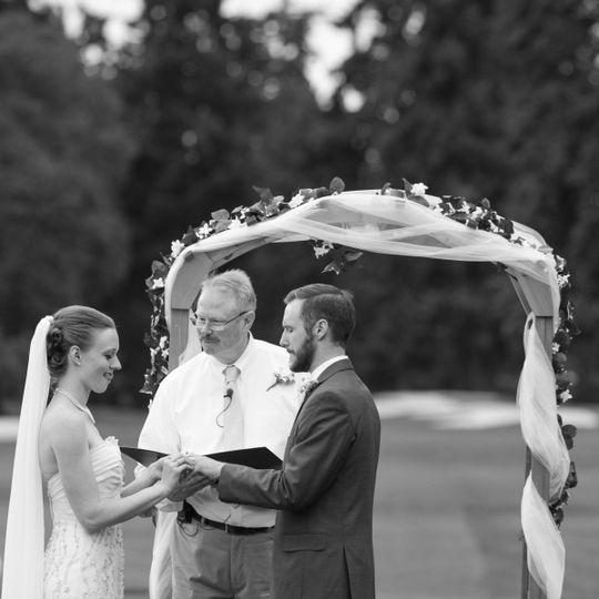 Moment captured between bride and groom