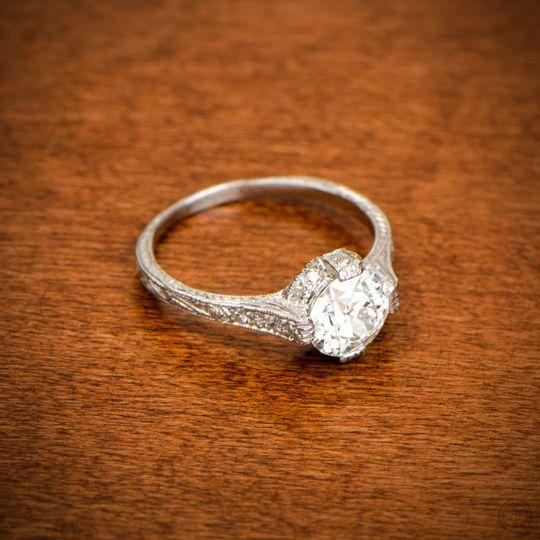 vintage round diamond engagement ring artist