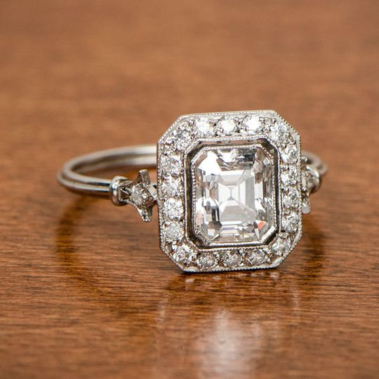 d7d949378848f72a 11301 Antique Emerald Cut Diamond Engagement Ring Artistic
