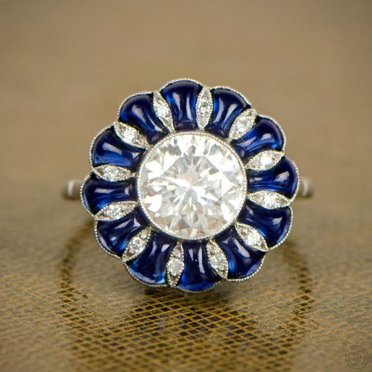diamond and sapphire cabochon engagement ring 6609