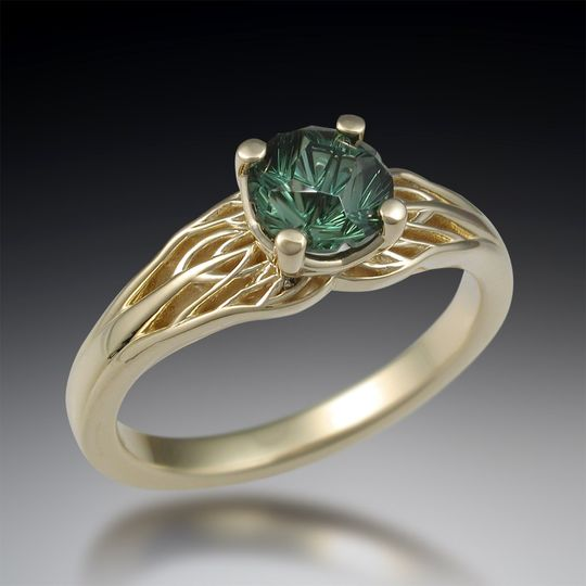 Carved branch engagement ring