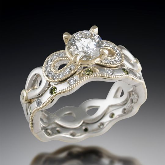 Double diamond ornate infinity engagement ring