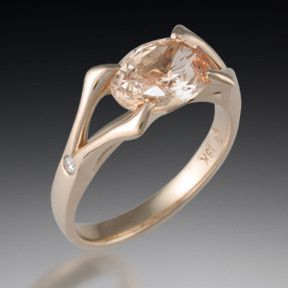 Mokume ribbon three stone engagement ring