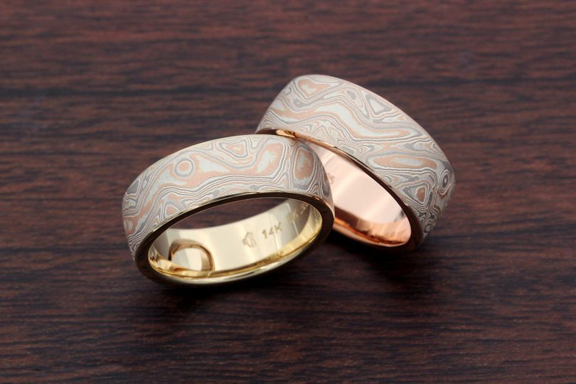Champagne Mokume Wedding Set