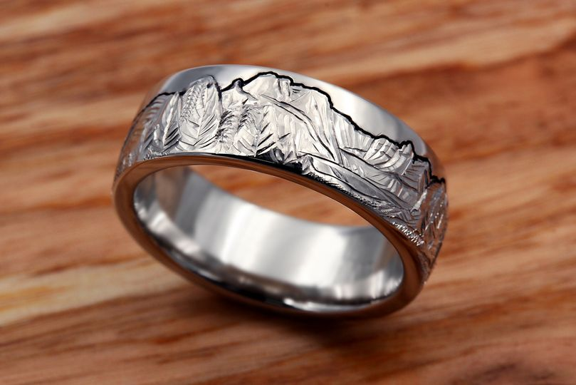 Carved Mountain Wedding Band