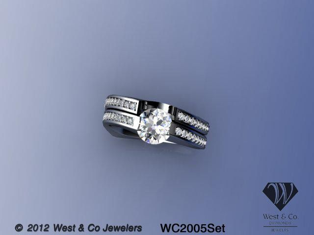 14kt curved bar set engagement ring and matching w
