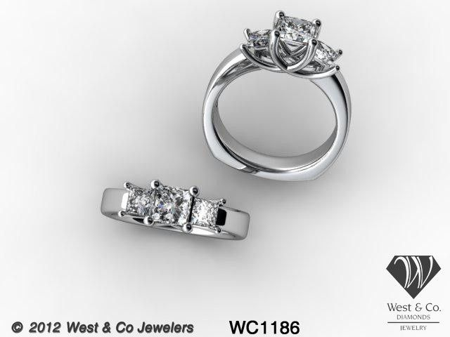 Tmx 1398540438319 14kt Three Diamond Princess Cut Trellis Rin Webster wedding jewelry