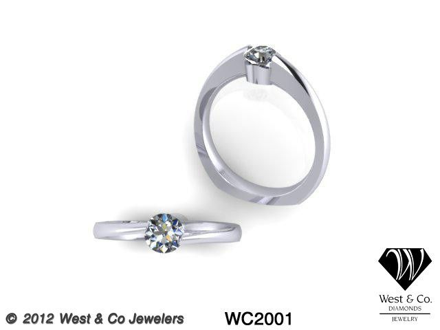 Tmx 1398540479532 Custom 14kt Half Bezel Engagement Rin Webster wedding jewelry