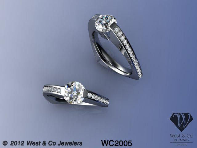 Tmx 1398540484880 Custom 14kt Modern Twist Engagement Ring Webster wedding jewelry
