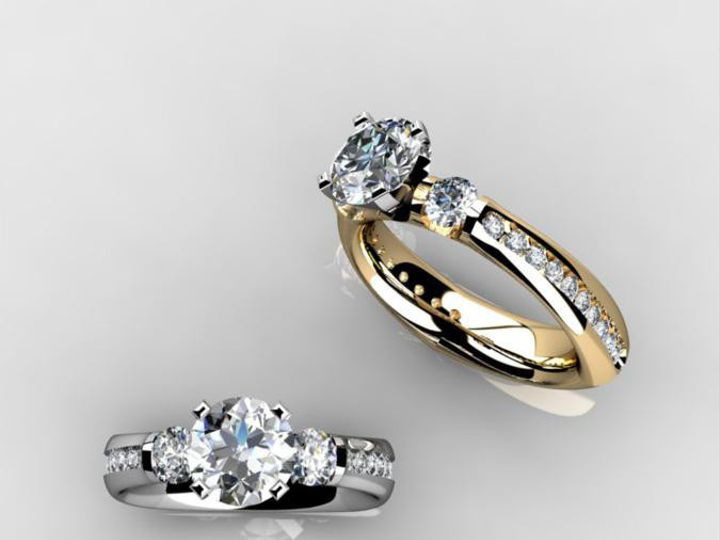 Tmx 1398540495848 Custom 14kt Past Prent Future Ring With Thin Chann Webster wedding jewelry