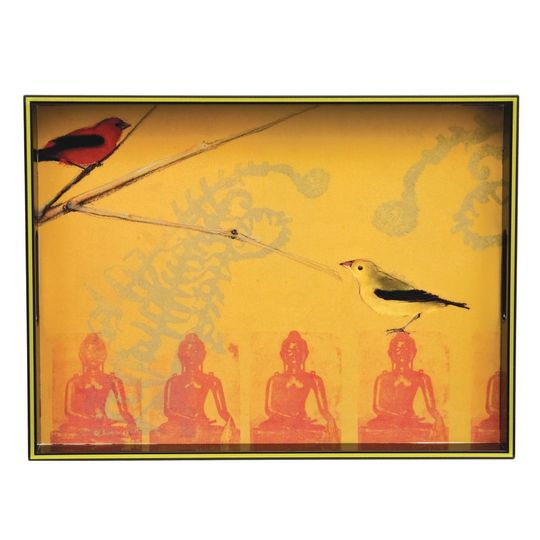 warbler on buddha rectangular lacquer serving tray