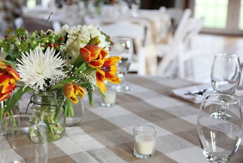Table setup and floral centerpiece