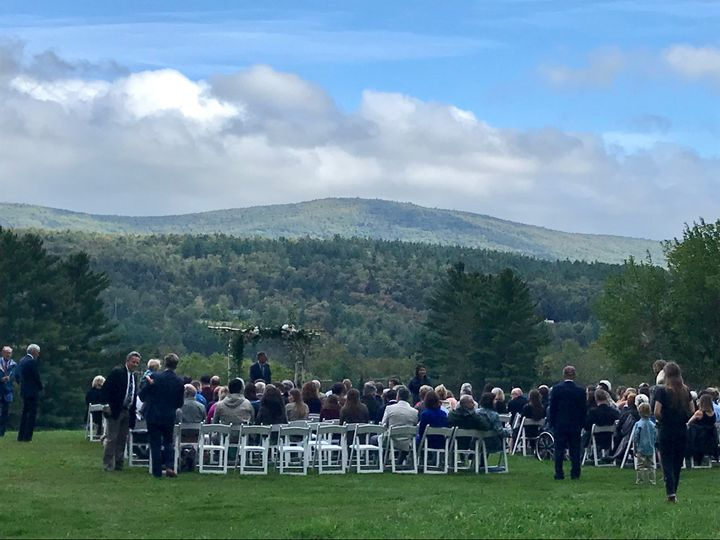 Hilltop ceremony with guests