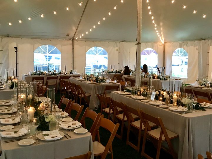 Interior tent set for dinner