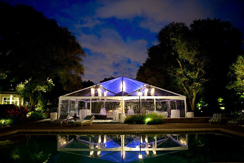 Reception tent in the evening