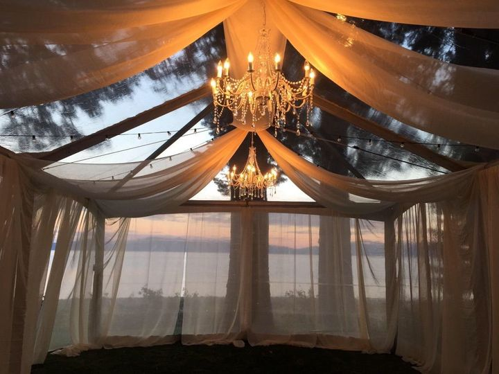 Tent chandelier and drapes