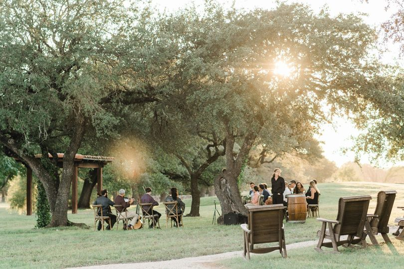 Shaded ceremony space