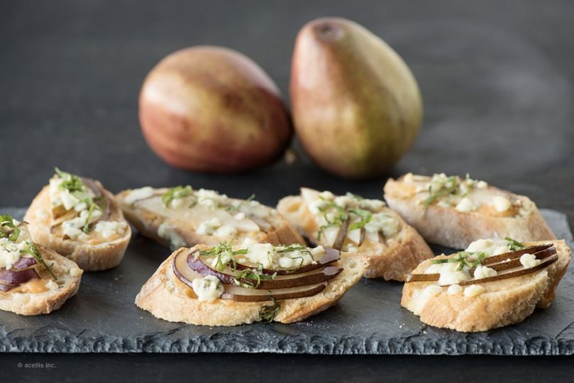 Caramelized Onion, Pear, and Gorgonzola Crostini