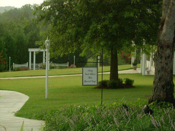 Signage on lush lawns