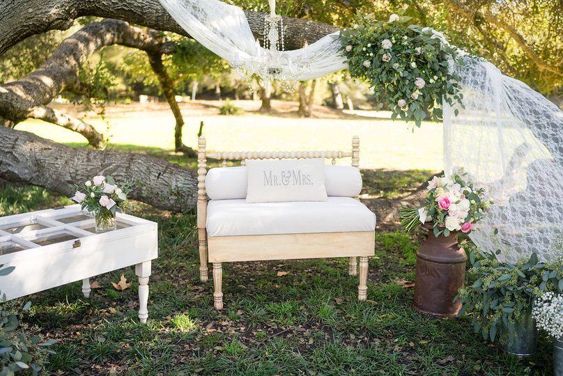 Shabby-chic wedding reception lounge seating