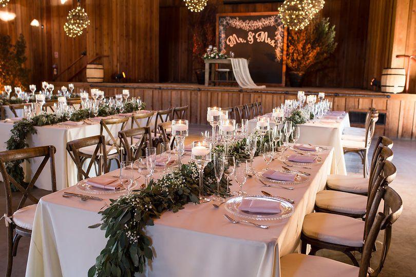 Rustic and elegant barn wedding reception