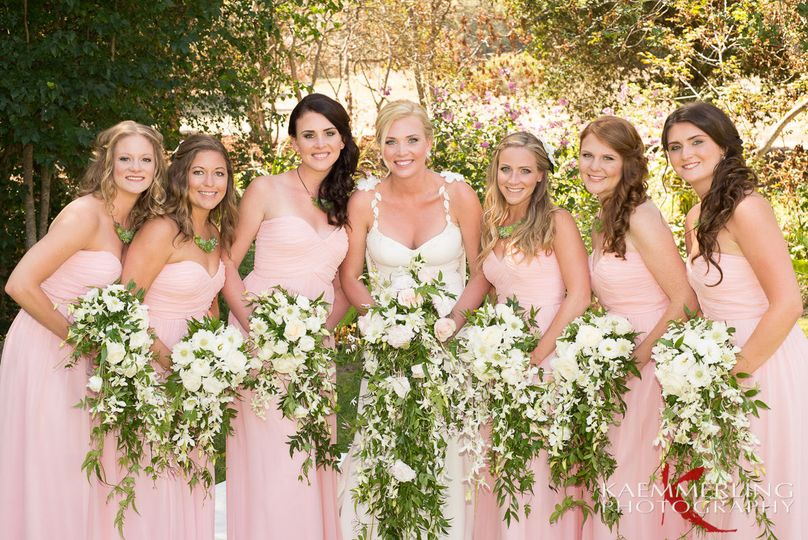 Cascade floral bouquets for bride and bridesmaids