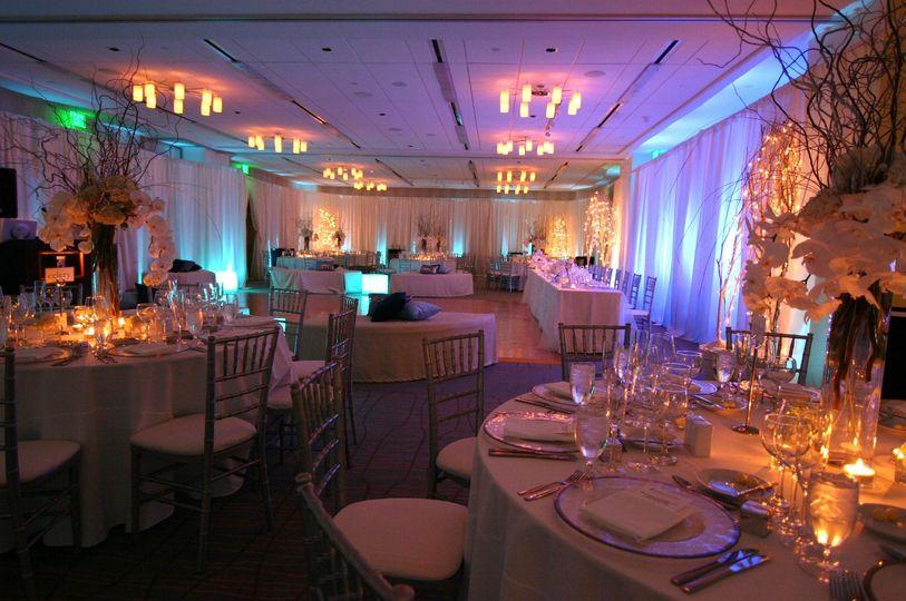 Dramatic lighting wedding reception