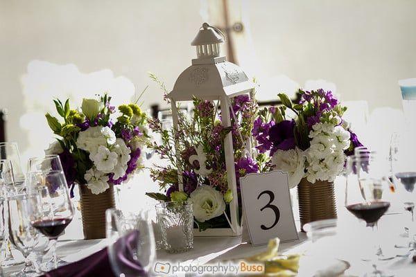 Vintage wedding reception floral centerpiece