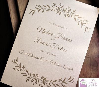 Nadine and David's wedding programs