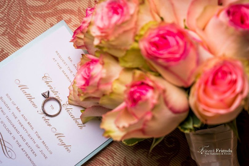 Christine and Mathew's white and taupe wedding invitation