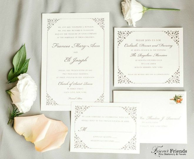 Frances and Eli's detailed white wedding invitation