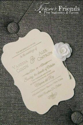 Vanessa and Alex's ecru velvet wedding invitation