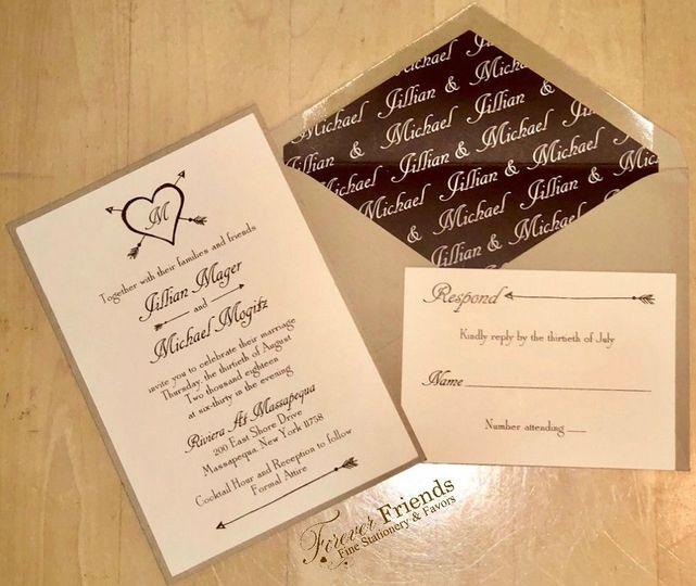 Jillian and Michael's mocha thermography hearts and arrows wedding invitation