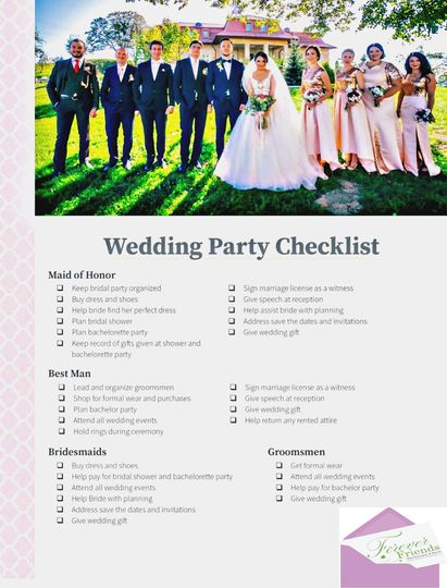 Wedding Party Duties/Checklist