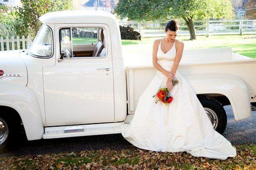 The bride and her car