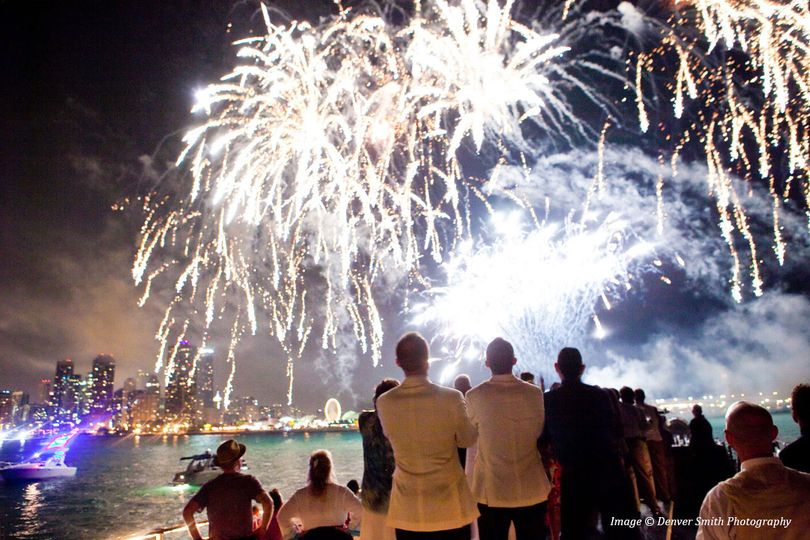 Saturday evening and Wednesday evening fireworks are the grand finale to private wedding cruise...