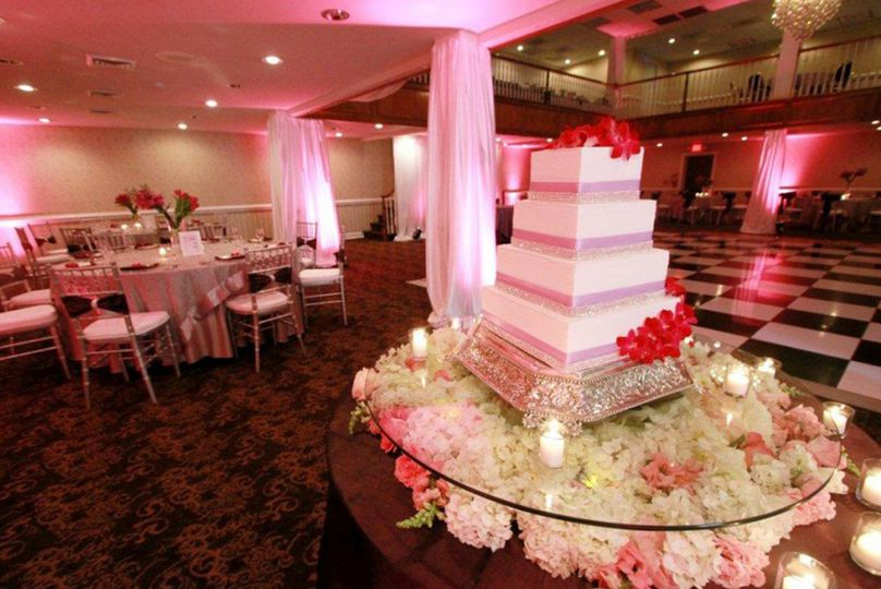 Wedding cake from wedding celebration at The Village Inn Event Center