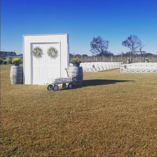 Late Fall Wedding, Perfect Blue Sky.