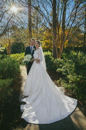 Crisp white wedding gown