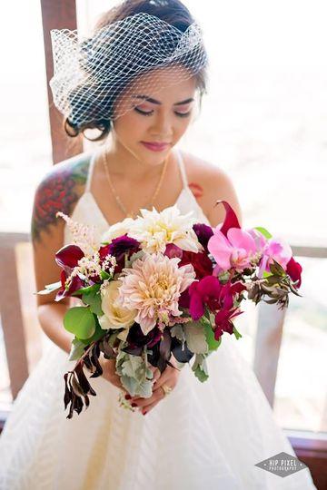 Marcella and blush vintage brides bouquet