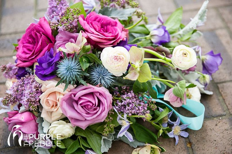 Pink and purple cascade bridal