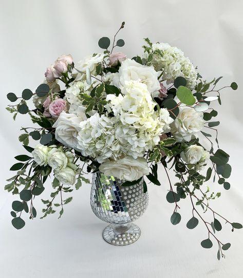 Silver Vase Blush Flowers