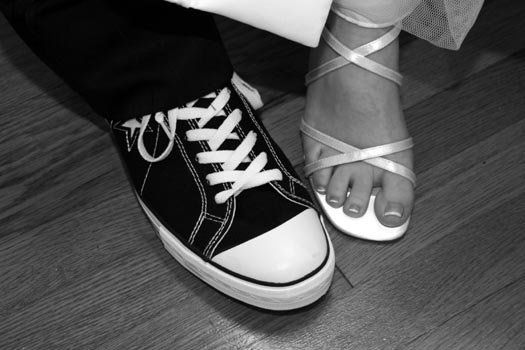 Bride and grooms shoes.