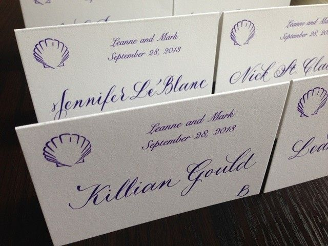 Custom mixed ink and traditional calligraphy for wedding reception place cards.